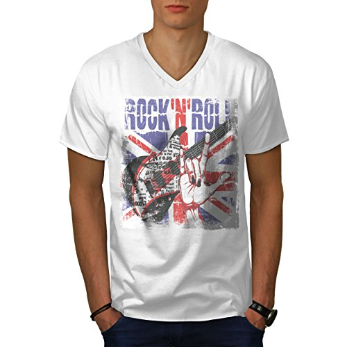 wellcoda Rock Roll UK Metal Mens V-Neck T-Shirt, Guitar Graphic Print Tee White ()