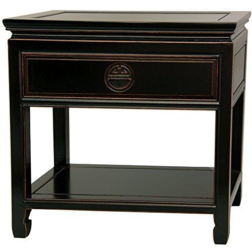 Antique Rosewood Furniture - ORIENTAL FURNITURE Rosewood Bedside Table - Antique Black