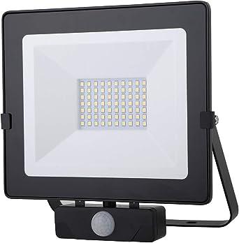 Foco LED con Sensor de Movimiento Negro 50W Proyector LED Exterior ...