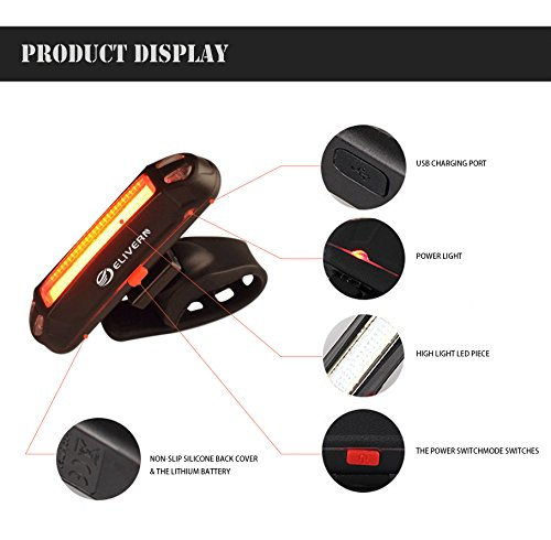 Elivern Super Bright LED Bike Light, Flash Bike Light Front and Back, 400 Lumens Headlight and 100 Lumens Tail Light,Easy Installation,Waterproof,USB Rechargeable Bike Light for Mountain Bikes by Elivern (Image #3)