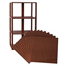 "Premium Brown Stackable Base Plates - 10 Pack 6"" x 6"" Baseplate Bundle with 80 Brown New and Improved 2 X 2 Stackers - Compatible with All Major Brands"