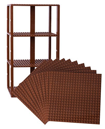"Free Premium Brown Stackable Base Plates - 10 Pack 6"" x 6"" Baseplate Bundle with 80 Brown Bonus Building Bricks - Compatible with All Major Brands- Tower Construction"