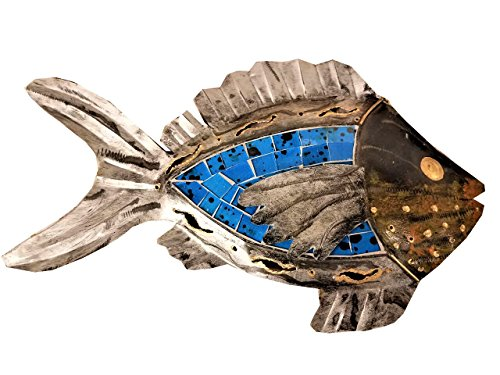 Hand-chiseled Tropical Metal Art Wall Decor Fish With Unique Aqua- Blue Inlaid Mosaic Glass