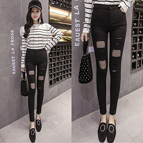 In Donne Vita Matita Jeans Denim Big Nero Net Skinny Pants A Alta Hole Babysbreath17 Fish Strappati 8Fdwqqa