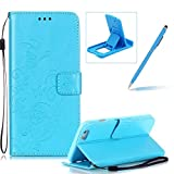 Strap Case for iPhone 6S Plus,Wallet Leather Cover for iPhone 6 Plus,Herzzer Classic Elegant [Blue Butterfly Pattern] PU Leather Fold Stand Card Holders Smart Phone Case for iPhone 6 Plus/6S Plus 5.5 inch + 1 x Free Blue Cellphone Kickstand + 1 x Free Blue Stylus Pen