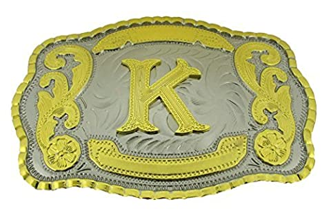 Initial Letters Western Style Cowboy Rodeo Gold Large Belt Buckles (Large Square, K LETTER) (Hebillas De Rodeo)