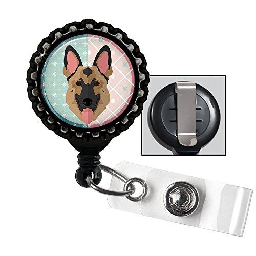 Cute Shepherds German (Cute German Shepherd- black ID holder, retractable badge reel, black and tan dog)