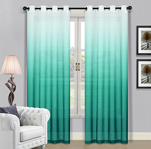 BH Home & Linen Beverly Hills Window Treatment Collection Fabric Ombre Sheer Grommet Window Panels a Pair of 2 Panels 52