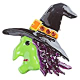 ACCESSORIESFOREVER Halloween Costume Jewelry Crystal Rhinestone Witch Side Face Brooch Pin BH83