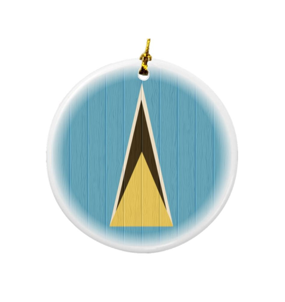 Rikki Knight Saint Lucia Flag on Distressed Wood Design Round Porcelain Two-Sided Christmas Ornaments