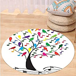 VROSELV Custom carpetMusic Decor Tree With Musical Notes And Birds Branch Happy Jolly Celebrating Playful Bedroom Living Room Dorm Decor Round 79 inches