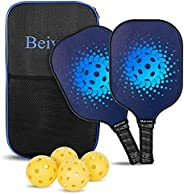 Beives Pickleball Paddles, Graphite Pickleball Rackets Set of 2 with 4 Balls for Outdoor/Indoor, Polypropylene
