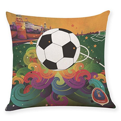 Throw Pillowcase, Kimloog 18x18 Colorful Football Soccer Wor