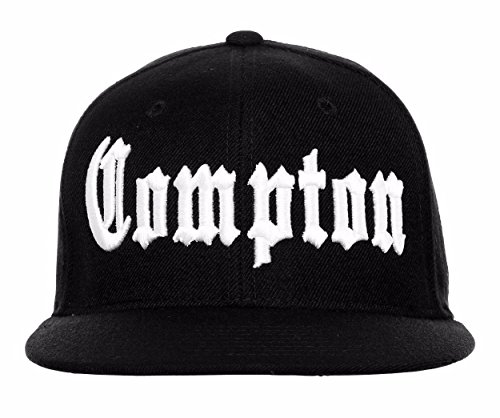7225f887 BHFC Compton Flat Bill Fitted Old English Embroidered Baseball Cap Hat - 8  Sizes
