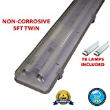 5FT TWIN 58 WATT NON CORROSIVE WEATHERPROOF FLUORESCENT LIGHT FITTING (INCLUDES TUBES) - IP65 - WEATHERPROOF OUTDOOR STRIP LIGHT - IDEAL FOR GARAGES, WORKSHOP, SHEDS, GREENHOUSES OR COMMERCIAL APPLICATIONS - STURDY CONSTRUCTION - POLYCARBONATE DIFFUSER - HIGH FREQUENCY TRIDONIC CONTROL GEAR - BRANDED - 2 YEAR GUARANTEE