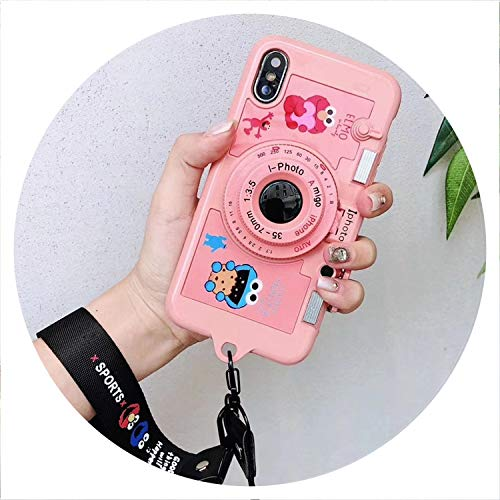 Fashion Cute Sesame Street Cookies Pink 3D Mirror Camera Stand+Lanyard Cover case for iPhone 6 7 8 Plus X XR XS MAX Phone Cases,Pink,for iPhone 8