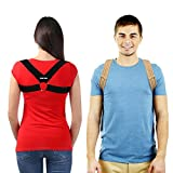 CAMP BEN Slim Posture Corrector for Women and Men (Large Black) | Kyphosis Hunchback | Shoulder and Back Support Brace | Clavicle Collarbone Support | Pain Relief from Slouching
