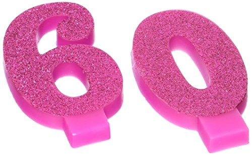 Amscan 171916 Party Supplies Glitter Pink# 60 Birthday Candles 2ct, 3 1/2