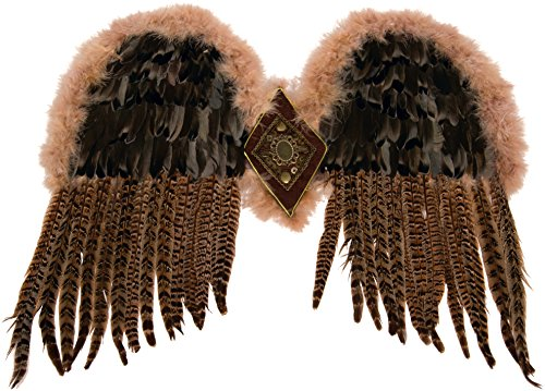 Forum Novelties Women's Exotic Feather Wings, Brown, One (Adult Owl Halloween Costume)