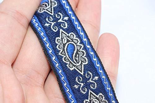 (35 mm Royal Blue Medieval Ribbon (1.37 inches), Renaissance Trim, otantic Ribbon, Jacquard Ribbons, Fabric Ribbon, Vintage Trim (3 Meter/3.28 Yards))
