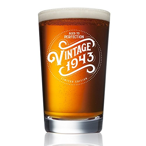 1943 75th Birthday Gifts for Men and Women Beer Glass - 16 oz Funny Vintage Pint Glasses for Decorations and Party Supplies - 75 Gift Ideas for Dad, Mom, Husband, Wife - Best Pub Craft Beers IPA Mug - Aged Ale Wine