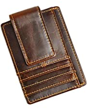Le'aokuu Genuine Leather Magnet Money Clip Credit Card Case Holder Slim Handy Wallet (Coffee 3)