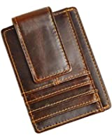 Le'aokuu Genuine Leather Magnet Money Clip Credit Case Case Holder Slim Wallet