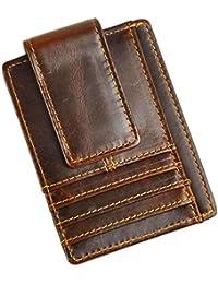 money clip wallet designer bppt  Le'aokuu Genuine Leather Magnet Money Clip Credit Card Case Holder Slim  Handy Wallet
