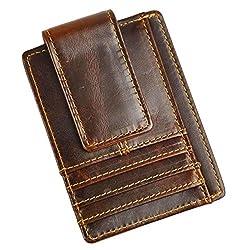 Le'aokuu Genuine Leather Magnetic Front Pocket Money Clip Slim Wallet Card Case (Dark Brown)