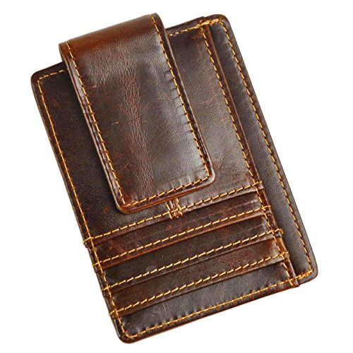 Le'aokuu Genuine Leather Magnetic Front Pocket Money Clip Slim Wallet Card Case (Coffee 3)
