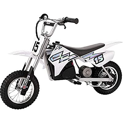Razor MX400 Dirt Rocket Ride On 24V Electric Toy Motocross Motorcycle Dirt Bike, Speeds up to 14 MPH Includes a Helmet, White: Toys & Games