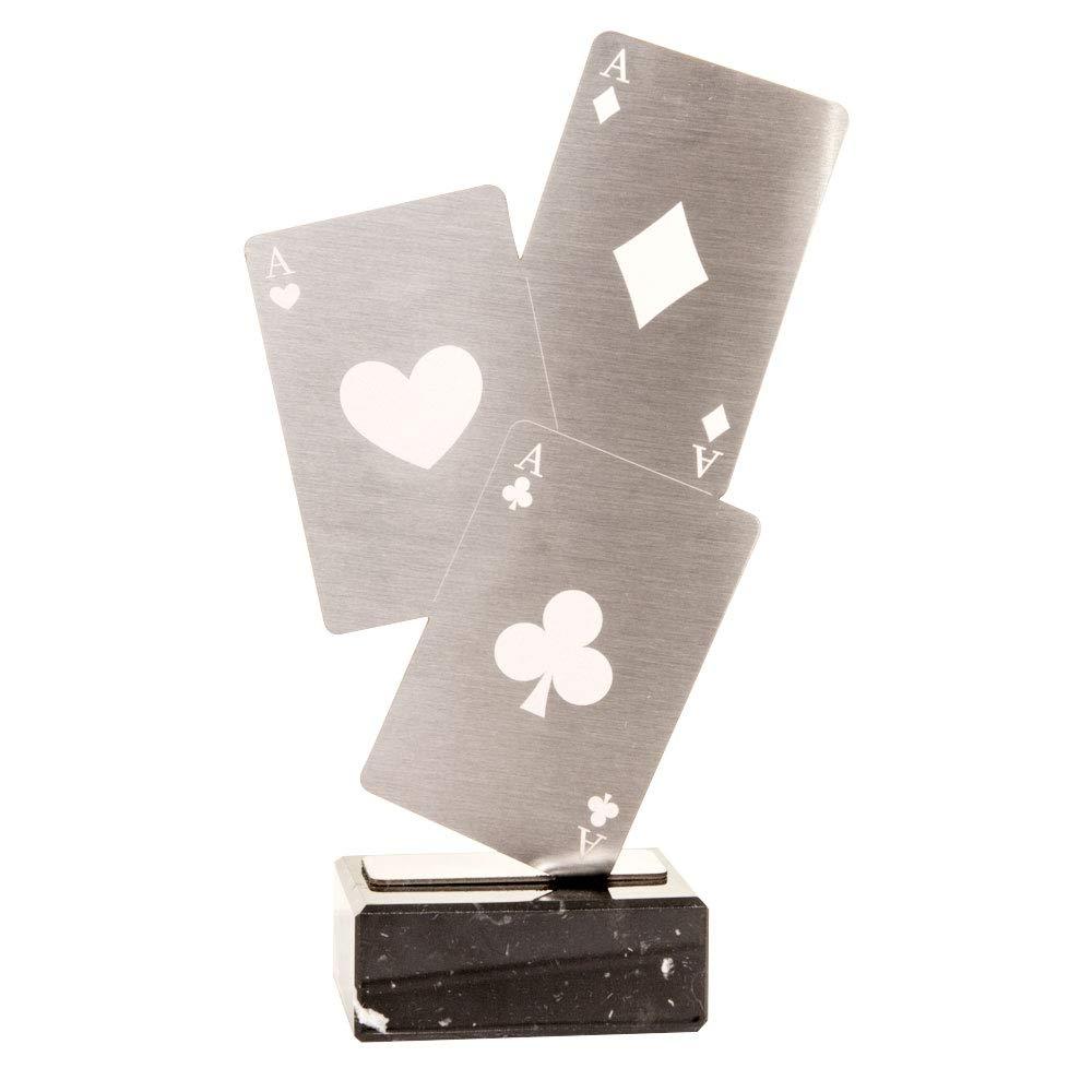 14cm Trofeos Mart/ínez Trofeo de Acero Inoxidable con Base m/ármol Cartas Poker.
