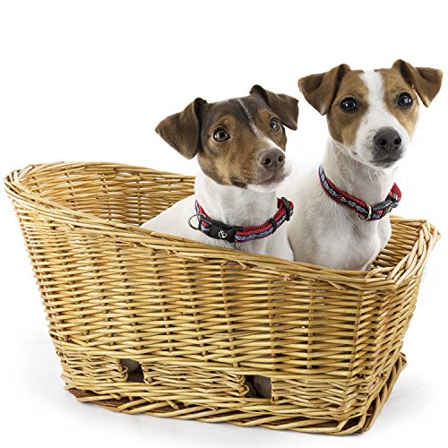 Large Rear Mount Willow Bicycle Basket for Dogs - Hand Crafted By Beach and Dog Co - Leashes Included (Cape May (Willow Bike Baskets)