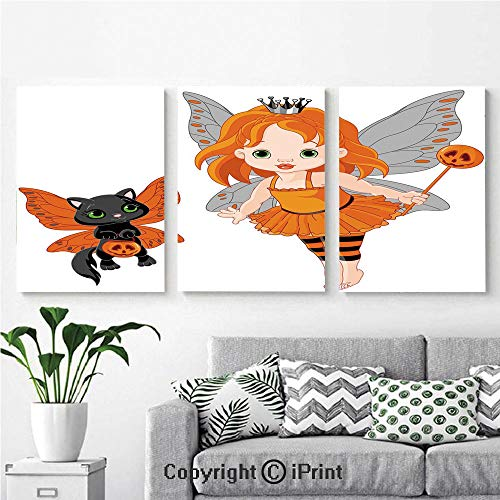 Canvas Prints Modern Art Framed Wall Mural Halloween Baby Fairy and Her Cat in Costumes Butterflies Girls Kids Room Decor Decorative for Home Decor 3 Panels,Wall Decorations for Living Room Bedroom -
