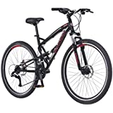 Schwinn S29 Dual-Suspension Mountain Bikes, Featuring 18-Inch/Medium and 20-Inch/Large Aluminum Frames, 29-Inch Wheels with Mechanical Disc Brakes, 21-Speed Shimano Drivetrain, Matte or Glossy Black