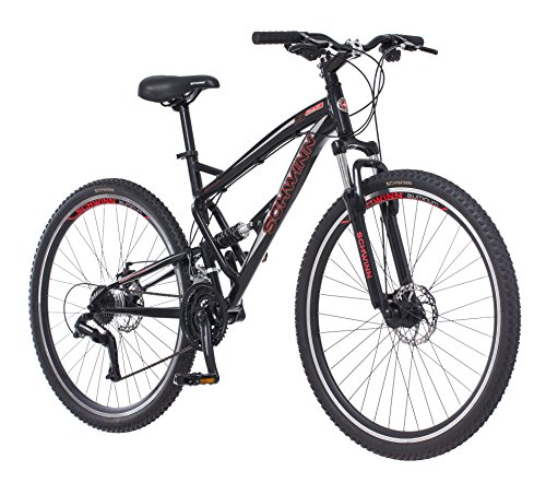 Schwinn S29 Dual-Suspension Mountain Bike, Featuring 18-Inch/Medium Aluminum Frame, 29-Inch Wheels with Mechanical Disc Brakes, 21-Speed Shimano Drivetrain, Glossy Black