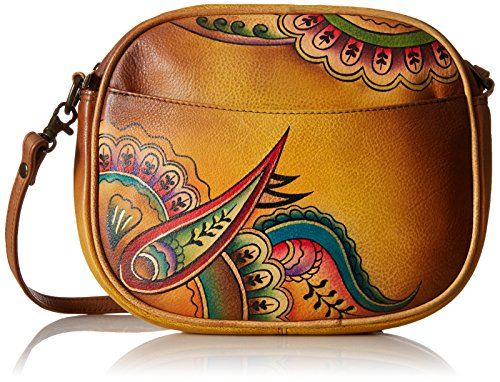 Anna by AnuschkaWomen's Genuine Leather Multi-Compartment Convertible Bag | Hand-Painted Original Artwork | Royal Paisley