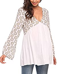 Meaneor Women Floral Print Patchwork Blouse V Neck Bell Sleeve Flowy Tunic Top
