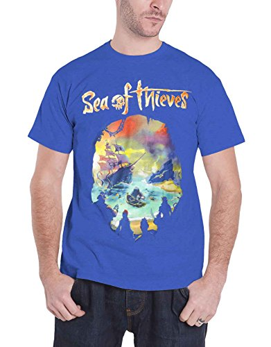 Sea Of Thieves T Shirt Skull Logo Official Xbox Gamer Mens Blue Official Logo Fashion Tee