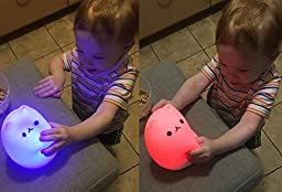 Umiwe Cute Kitty LED Children Night Light Kids Silicone Cat Lamp 7-Color Flashing USB Rechargeable Lighting, Warm White Light