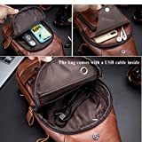 BULLCAPTAIN Sling Bag Crossbody Backpack with USB