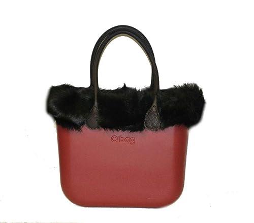 Borsa pelliccia bordeauux bordo e nera Murmasky eco con bag manici O pfSpAwqBgx