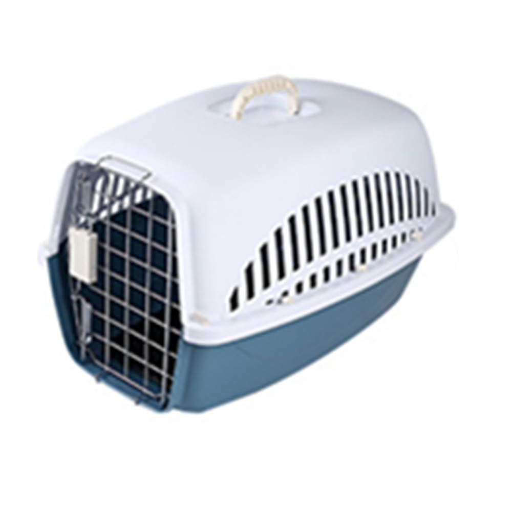FZQ Pet Transport Box, Metal Door Ventilation Window, Upper and Lower Split Design, Resin Material, Moisture and Corrosion Resistance,Blue