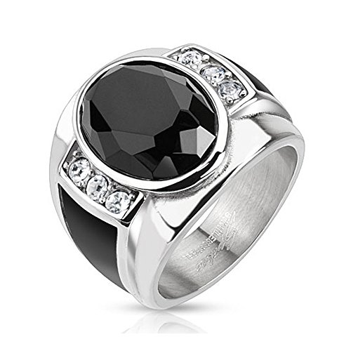 Over Stainless Steel Diamond Ring - Diamond Cut Onyx Stone with Black Enamel Sides Cast Stainless Steel Ring - Size 9