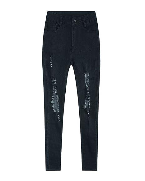 Pantalones Ripped Elásticos Skinny Slim Casuales Rasgados ...