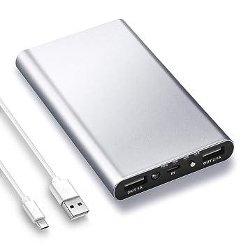 Batería Externa 10000mah, Power Bank Cargador Móvil Portátil con 2 Puertos de Salida USB y LED-Indicación del Estado, Banco de Energía Ultra Delgado ...