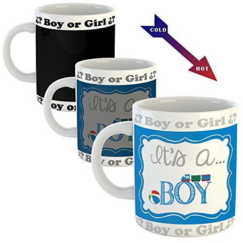 Baby Shower Gender Reveal Coffee Mug I It's a Boy Hot Sensitive Magic Mug 11Oz I For Party Games Souvenir Coutillon Little Detail Coffee New Parent Announcement Available USA and Worldwide