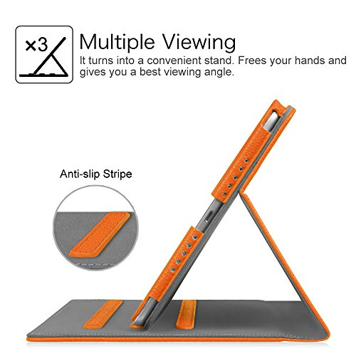 Fintie Case for iPad 9.7 2018 2017 / iPad Air 2 / iPad Air - [Corner Protection] Multi-Angle Viewing Folio Cover w/Pocket, Auto Wake/Sleep for iPad 6th / 5th Gen, iPad Air 1/2, Orange