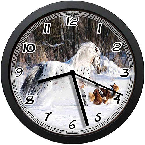 BCWAYGOD Legendary Appaloosa Pony and Sable Border Collie Runs Gallop in Winter Photo Print Non-Ticking Wall Clock Silent Home Decor Battery Operated Clock 12 Inch