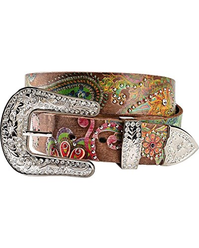 Nocona Brown Belt (Nocona Women's Floral Paisley Print Leather Belt Brown)
